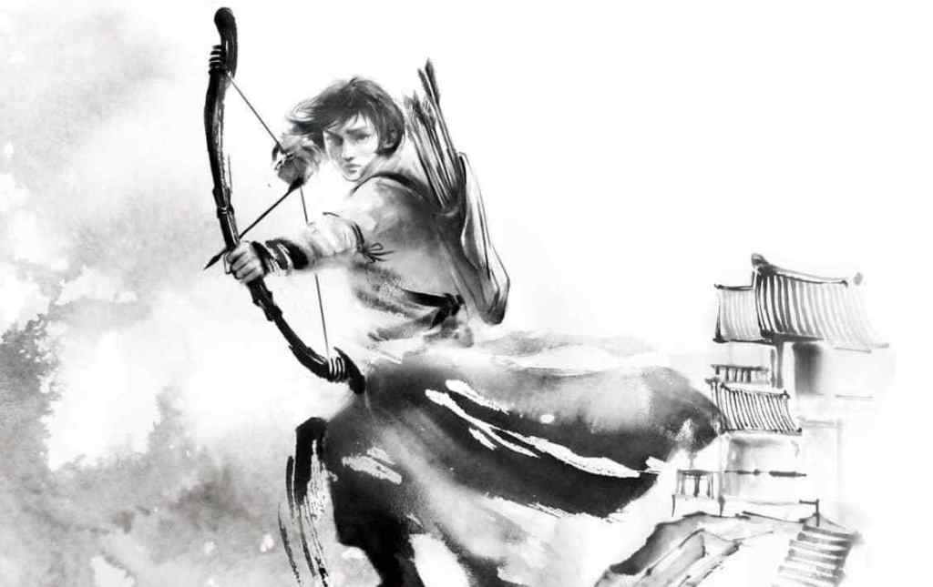 Image of Fang Runin with a pointed bow in front of houses in the position she's found in on the cover of The Poppy War.